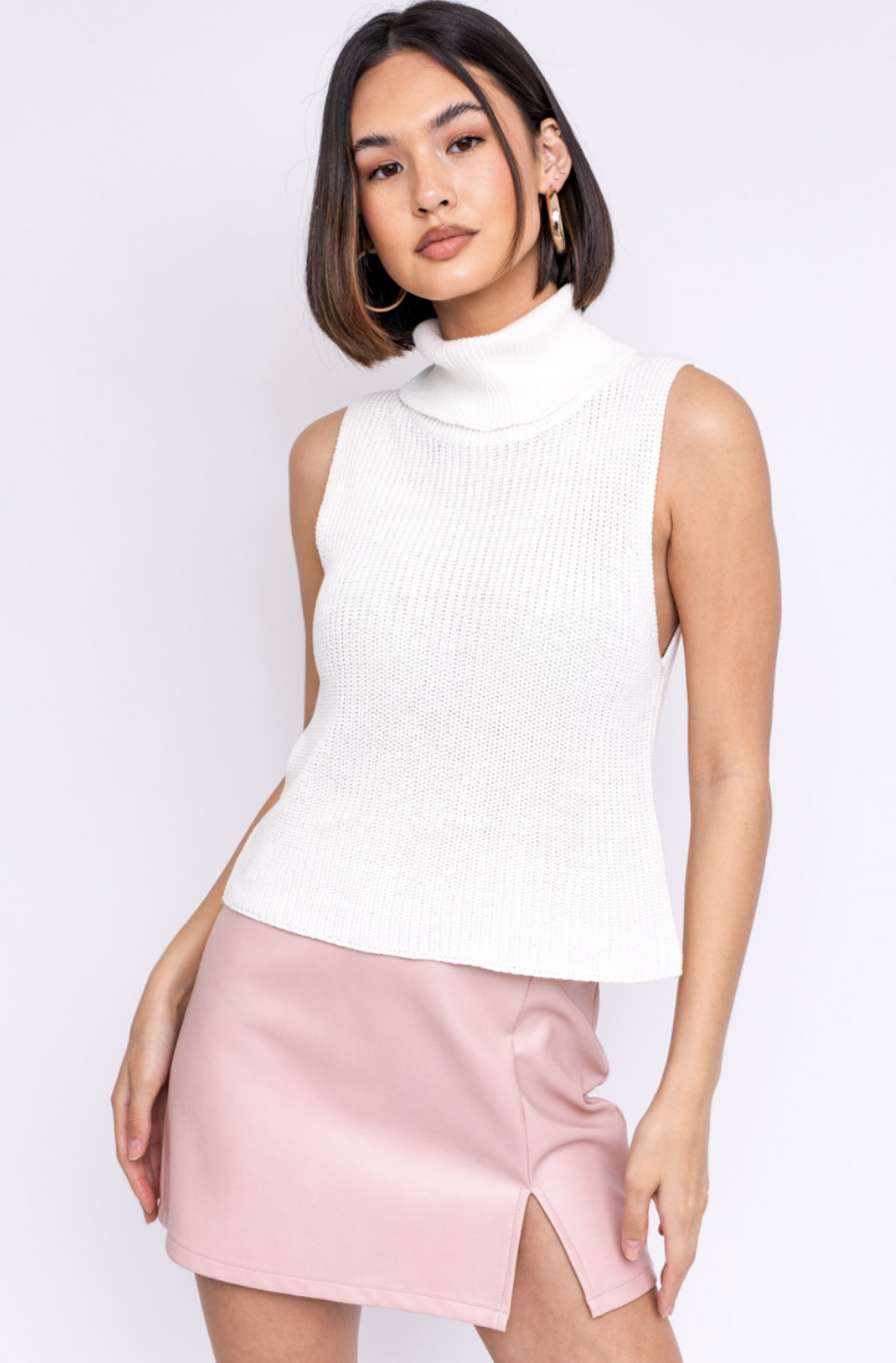 White Turtleneck Knit Top