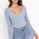 Dusty Blue Knit Bodysuit