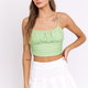 Green Ruched Cropped Top