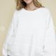 White One Tone Contrast Sweater