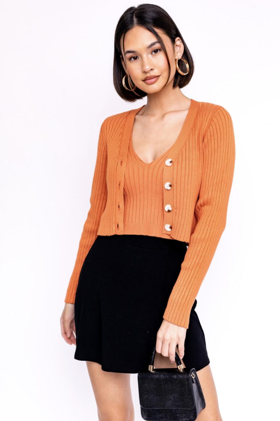 Orange Ribbed Button Down Cardigan