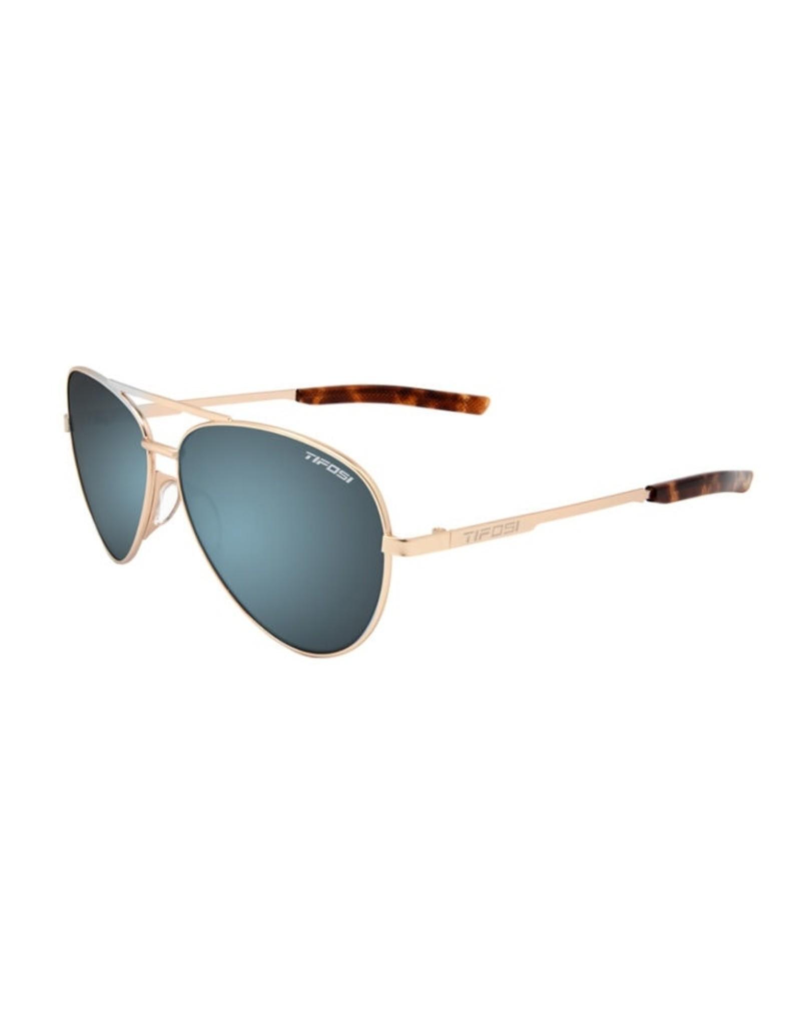 Tifosi Optics Shwae, Gold Single Lens Sunglasses - Smoke Bright Blue