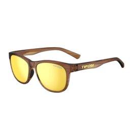 Tifosi Optics Swank, Woodgrain Single Lens Sunglasses - Smoke Yellow