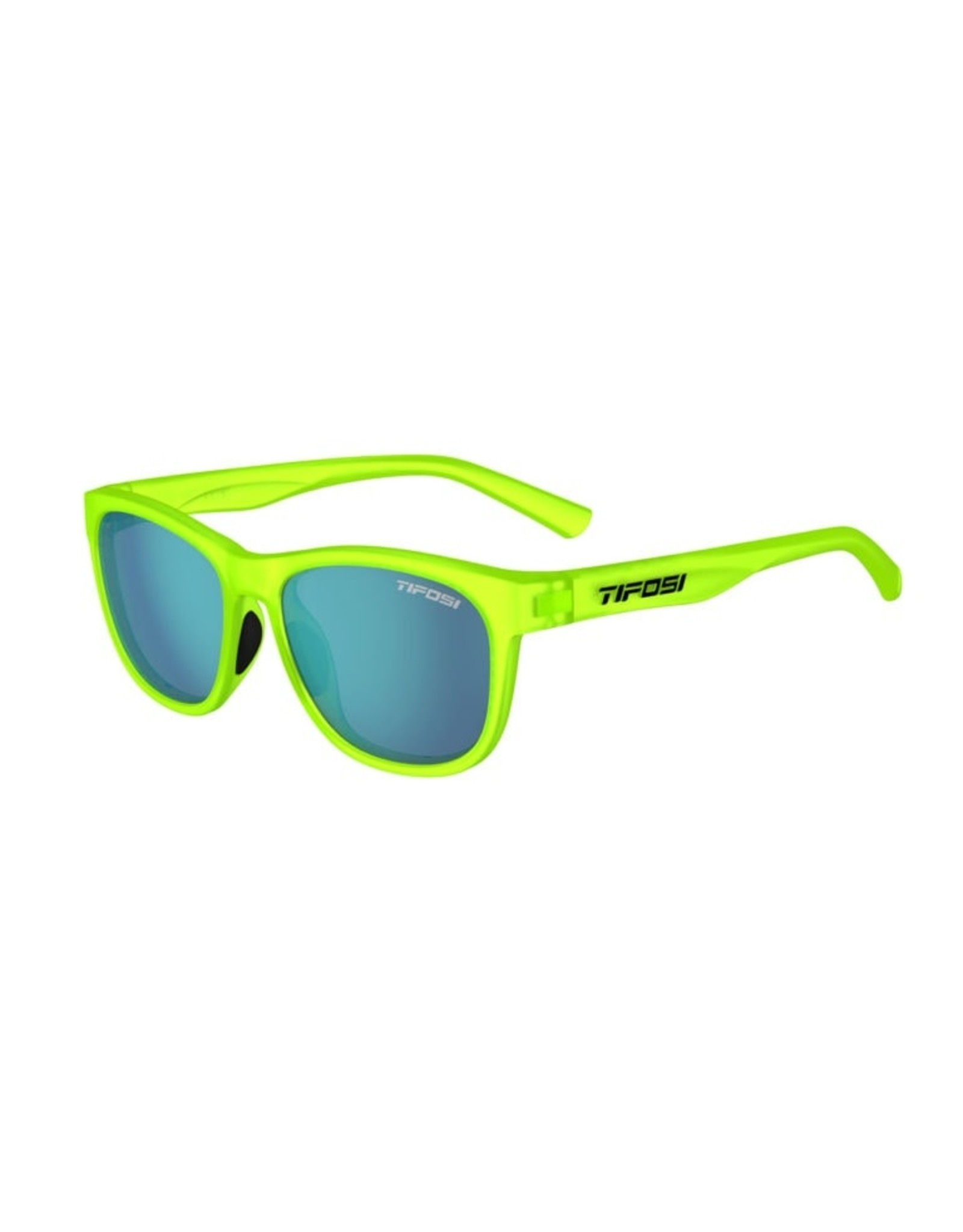 Tifosi Optics Swank, Satin Electric Green Single Lens Sunglasses - Smoke Bright Blue