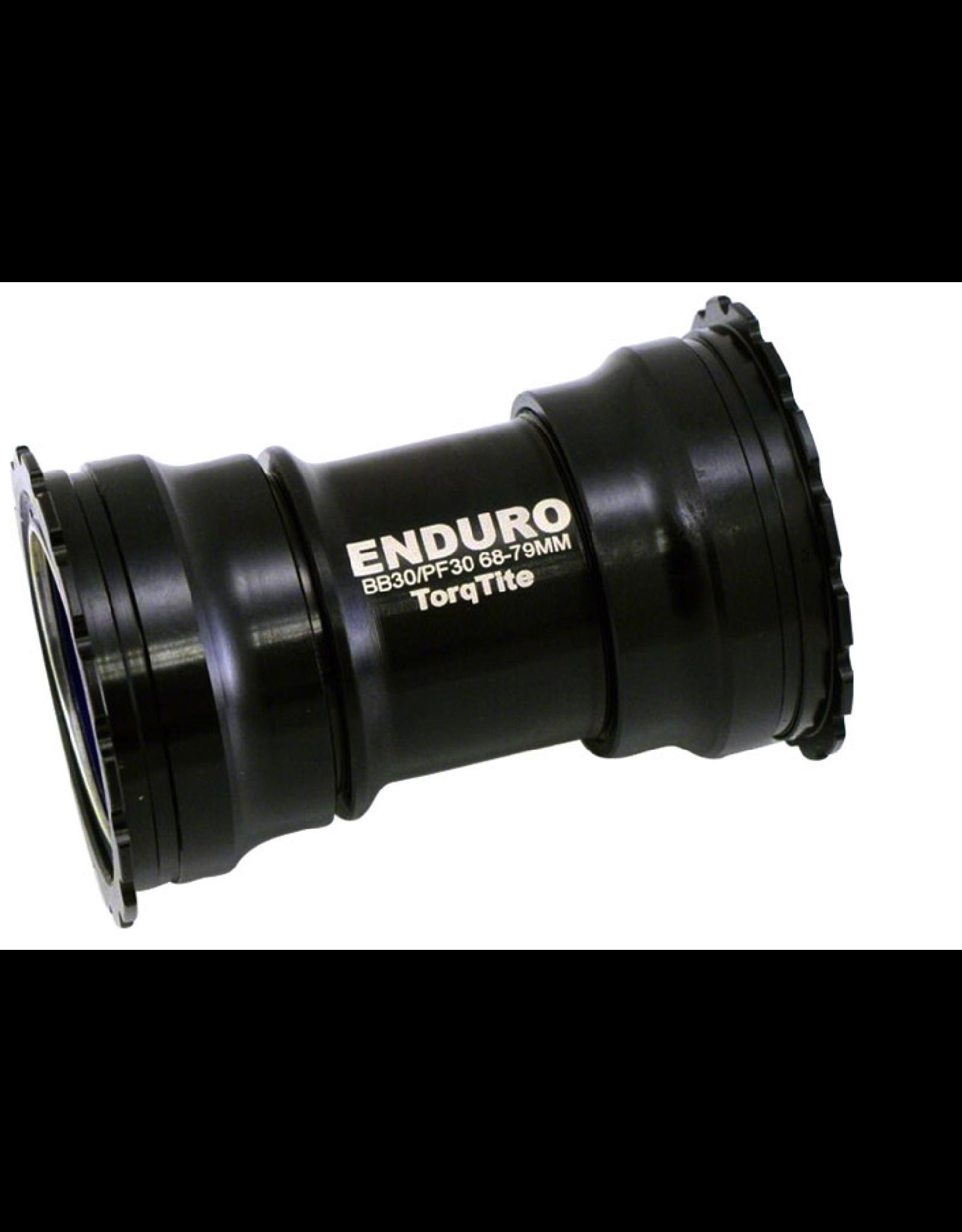 Enduro TorqTite Stainless Steel Angular Contact  PF30 Bottom Bracket, BBRight, Black