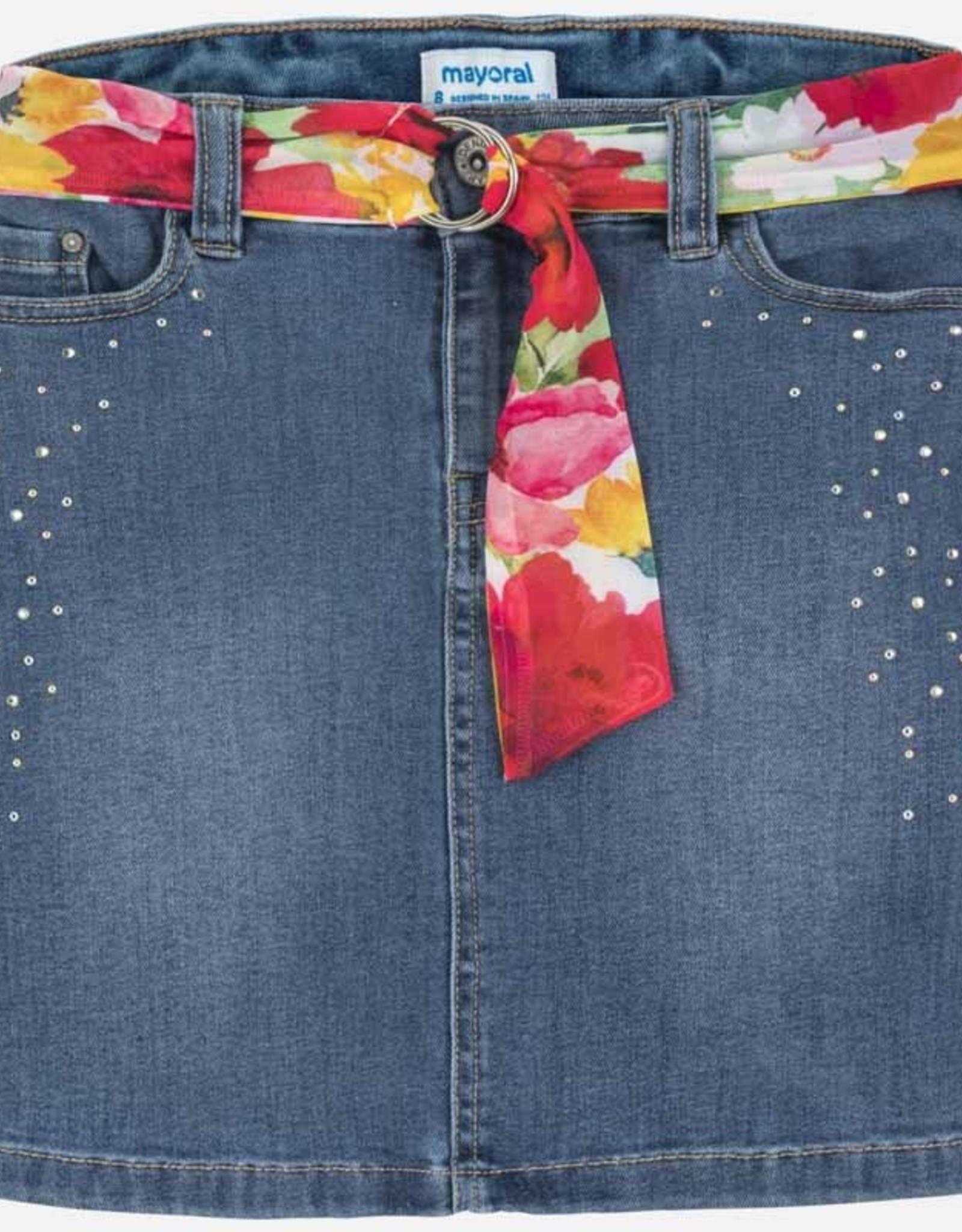 Mayoral Mayoral Denim Skirt with Floral Belt & Details