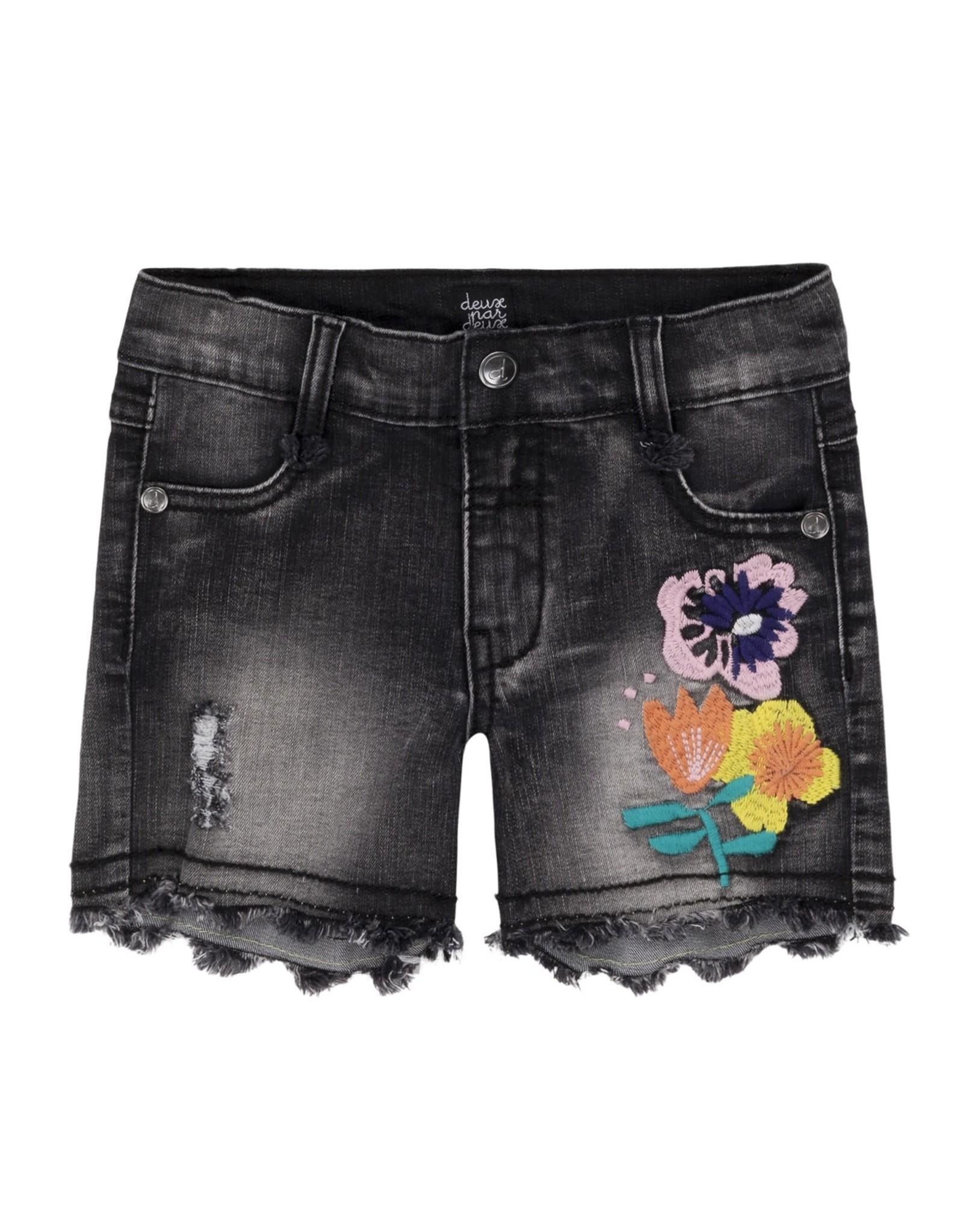 Deux Par Deux Deux Par Deux Denim Short with Flowers Embroidery