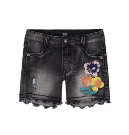 Deux Par Deux Deux Par Deux Denim Short with Flowers Embroidery