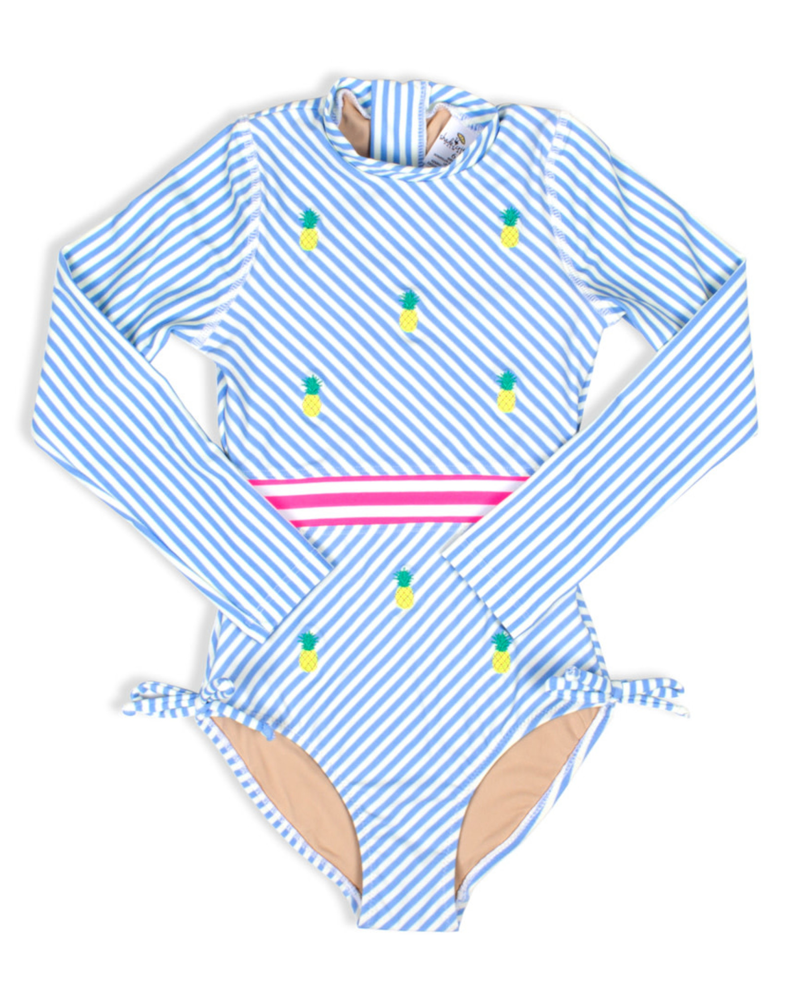 Shade Critters Shade Critters One Piece Long Sleeve Stripe Pineapple