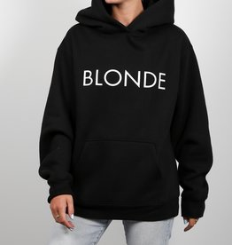 "Brunette The Label Brunette the Label ""BLONDE"" Women Hooded Sweatshirt Black"