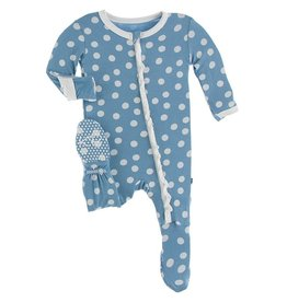 Kickee Pants Kickee Pants Holiday Muffin Ruffle Footie With Zipper Blue Moon Snowballs