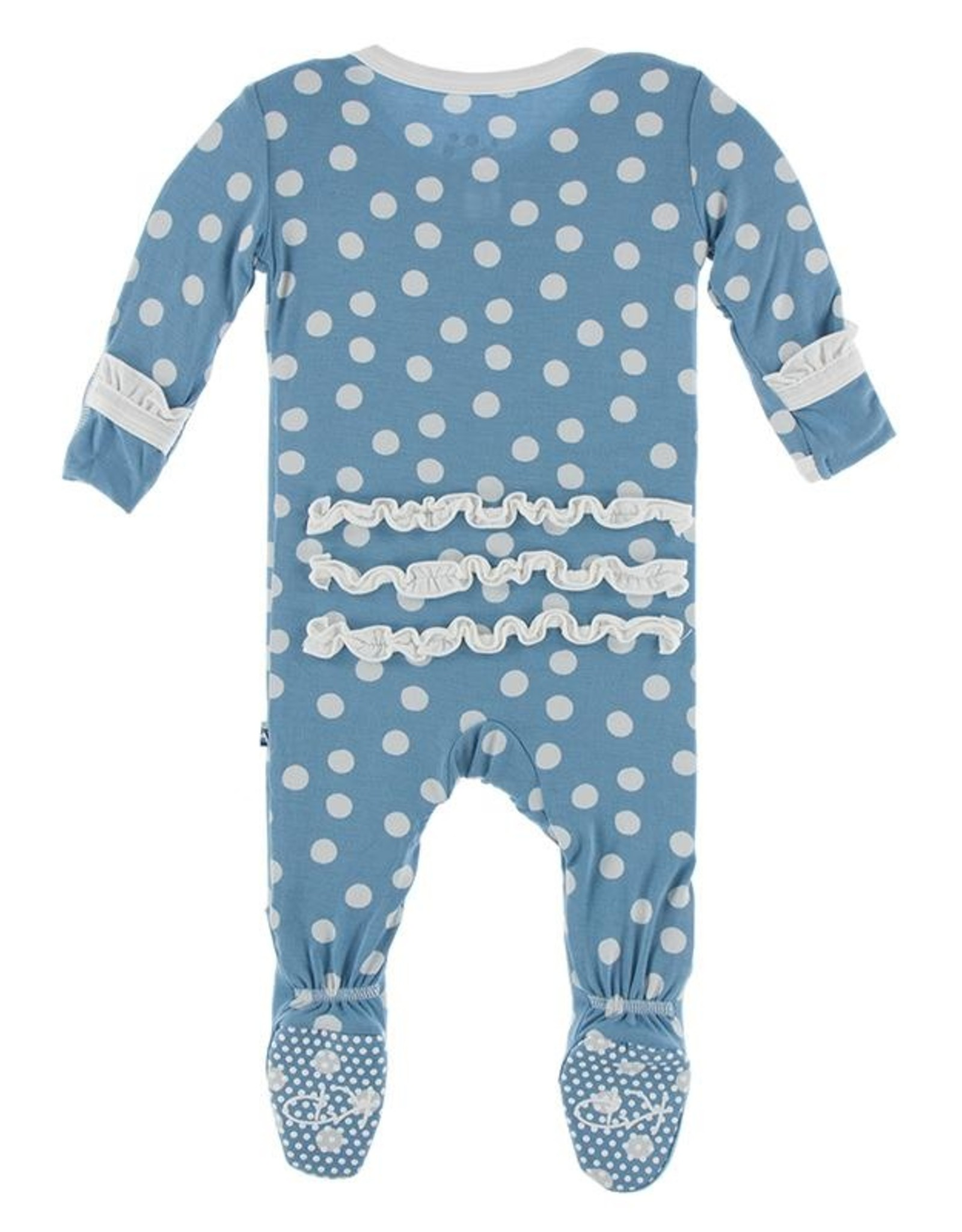 Kickee Pants Kickee Pants Holiday Muffin Ruffle Footie With Zipper Blue Moon Snowballs
