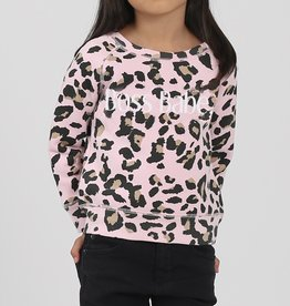 "Brunette The Label Brunette The Label ""BOSS BABE"" Little Babes Crew Neck Sweatshirt Pink Leopard"