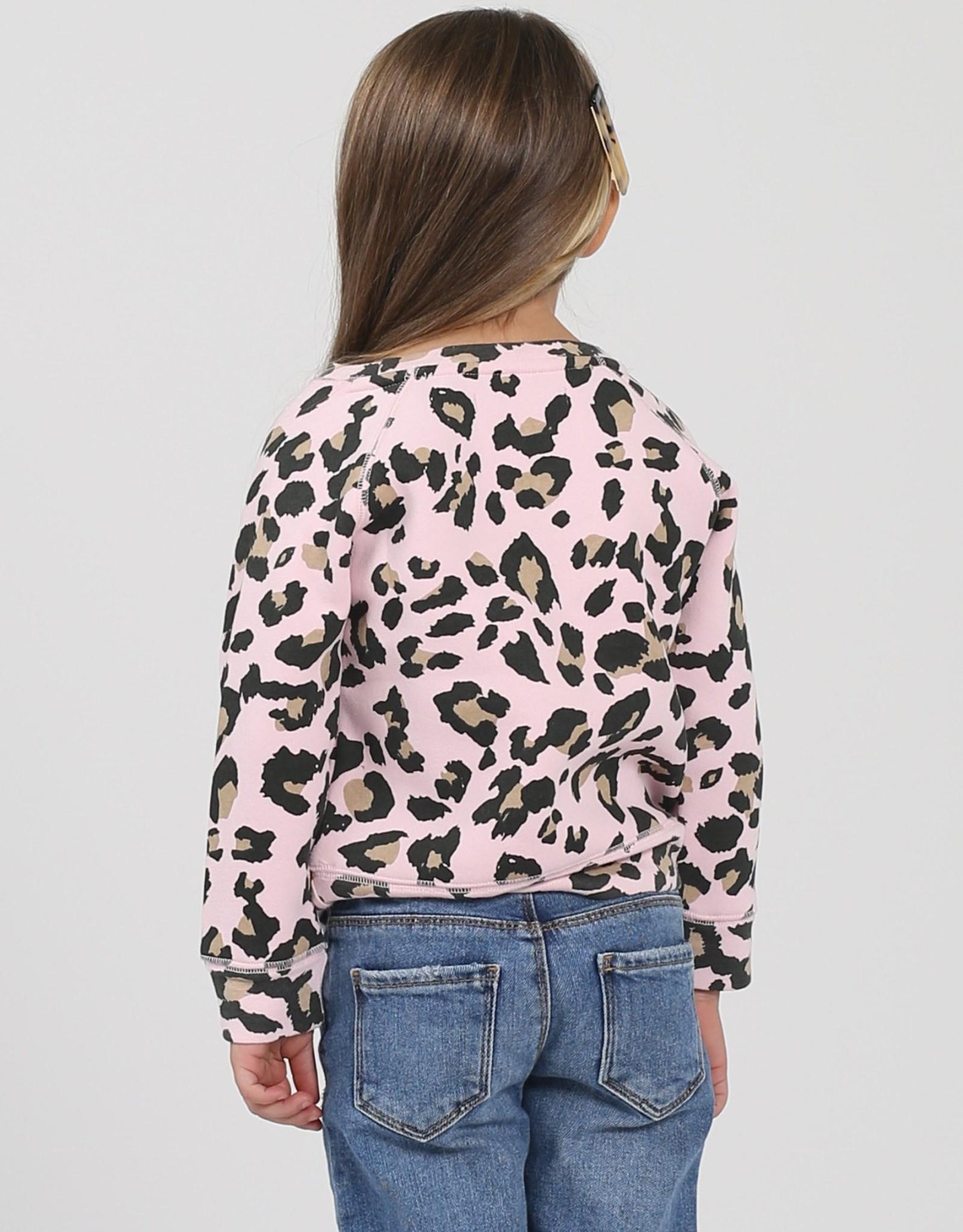 "Brunette The Label Brunette The Label ""BOSS BABE"" Little Babes Crew Neck Sweatshirt Pink Leopard"