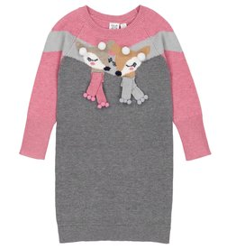 Deux Par Deux Deux Par Deux Knitted Sweater Dress with Doe  & Pompoms Size 4