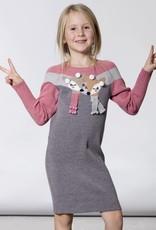 Deux Par Deux Deux Par Deux Knitted Sweater Dress with Doe  & Pompoms Size 4