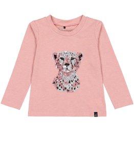 Deux Par Deux Deux Par Deux Long Sleeve T-Shirt with Cheetah in Sequins Size 6