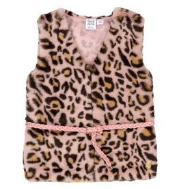 Deux Par Deux Deux Par Deux Pink Leopard Print Faux-Fur Vest Size 8