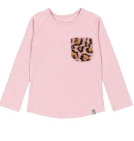 Deux Par Deux Deux Par Deux Pink Long Sleeve T-Shirt with Faux Fur Pockets Size 3