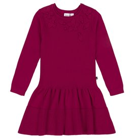 Deux Par Deux Deux Par Deux Red Knitted Sweater Dress