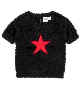 Deux Par Deux Deux Par Deux Black Fuzzy Knit Short Sleeve Sweater Size 8