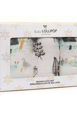 LouLou Lollipop LoulouLOLLIPOP Washcloth 3-Pieces Set Farm Animals