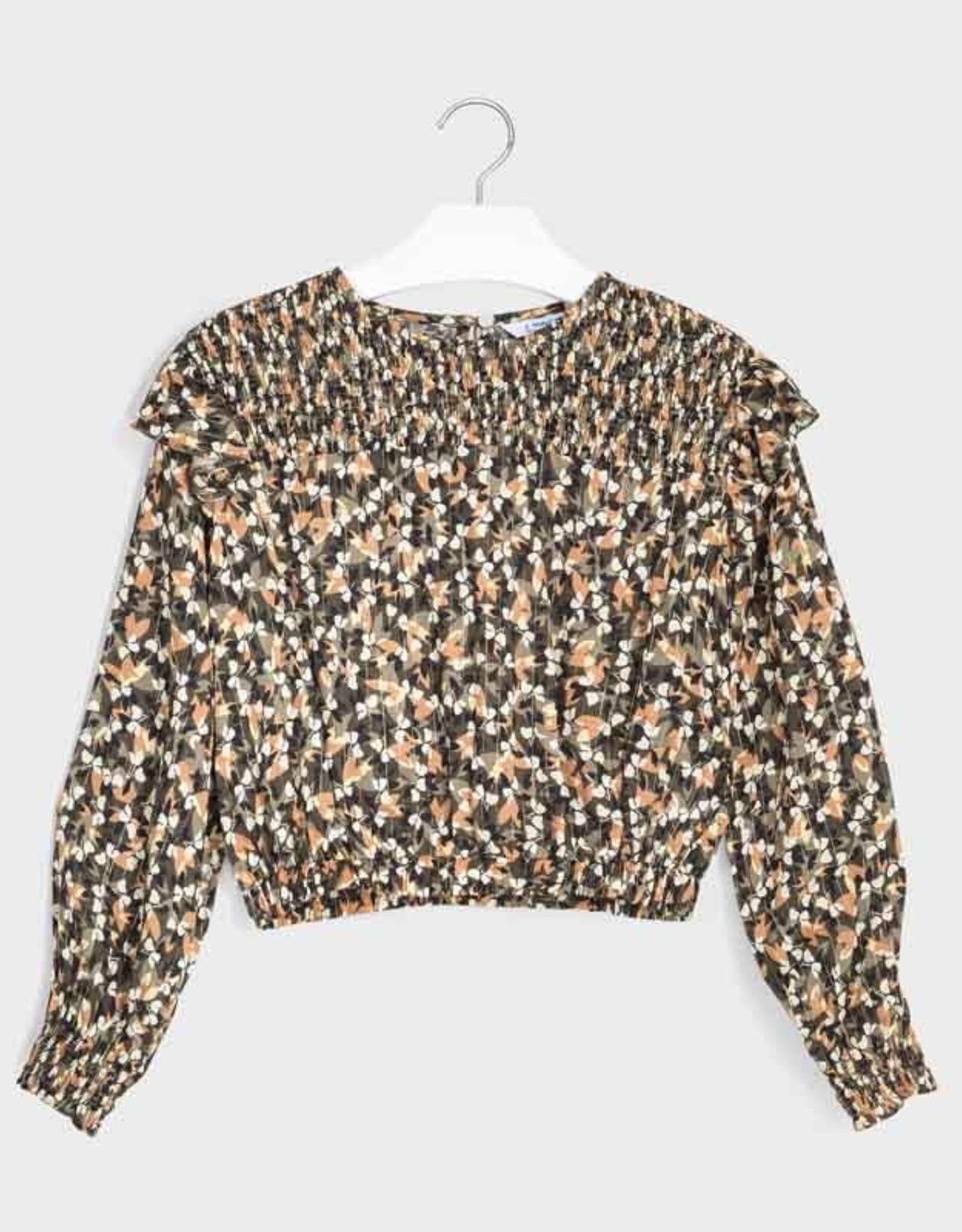 Mayoral MayoralLurex Patterned Ruffle Shirt Size 10