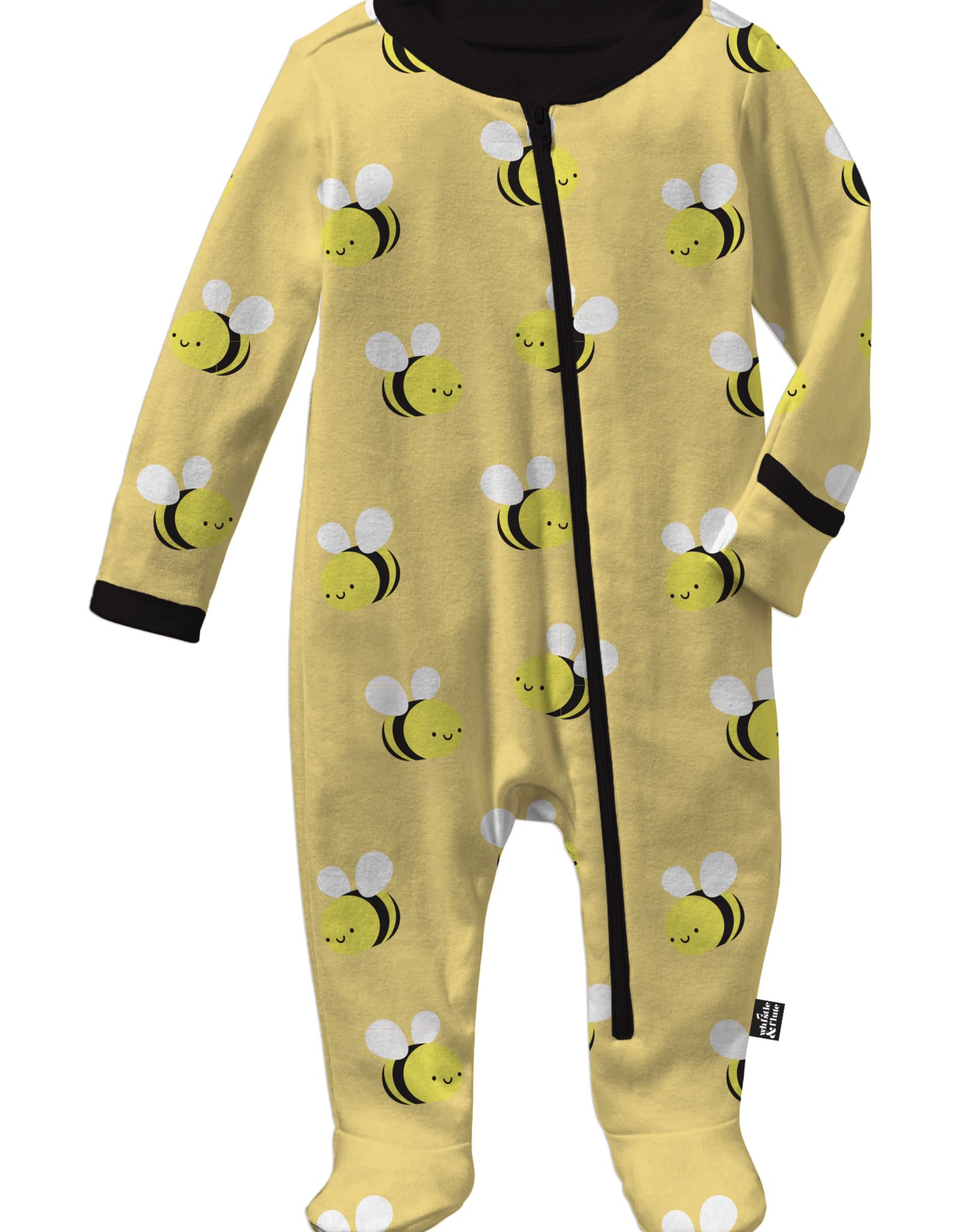 Whistle & Flute Whistle & Flute Kawaii Bee Allover Print Footed Sleeper