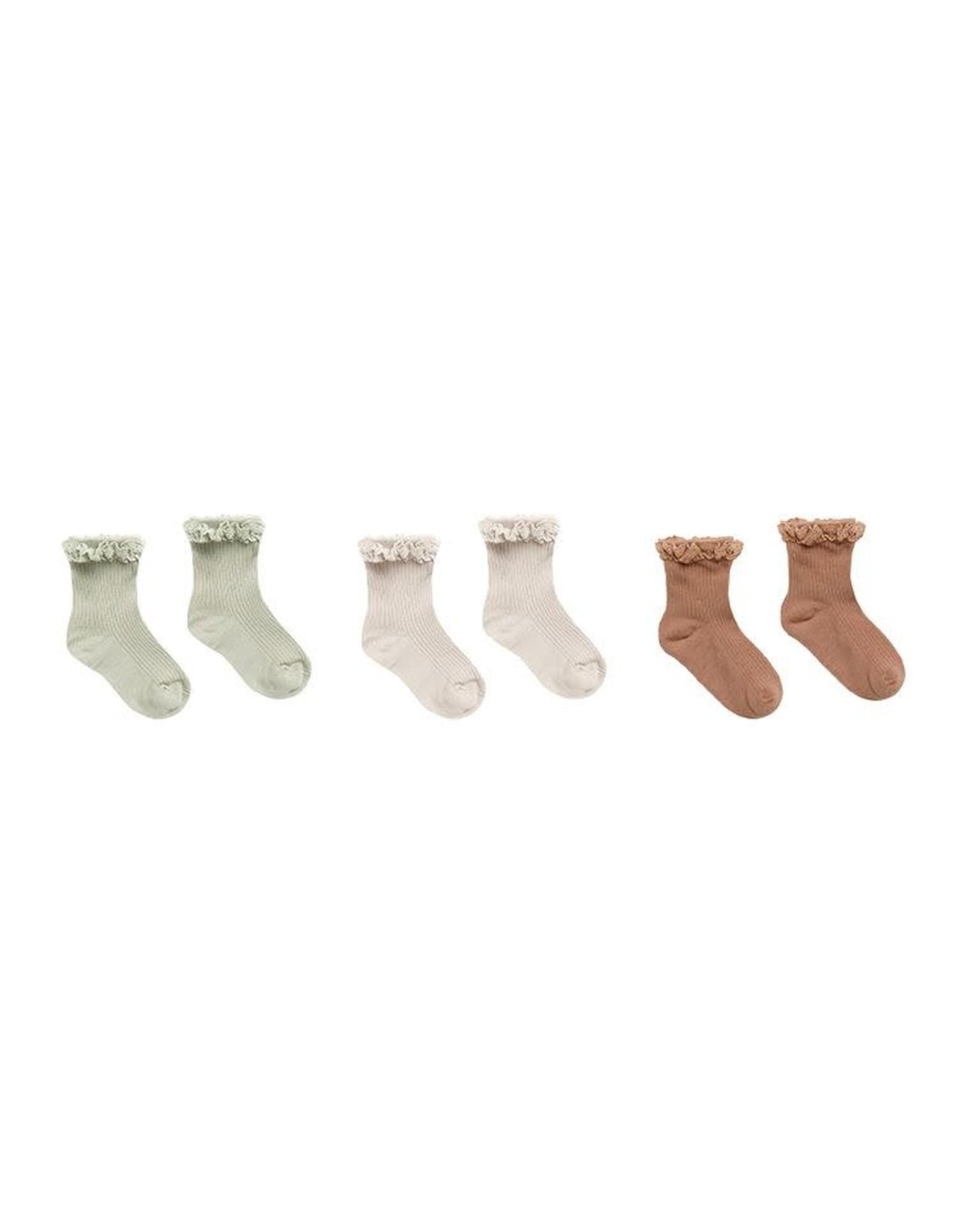 Rylee & Cru Rylee & Cru Ruffle Socks Sage, Shell, Terracota