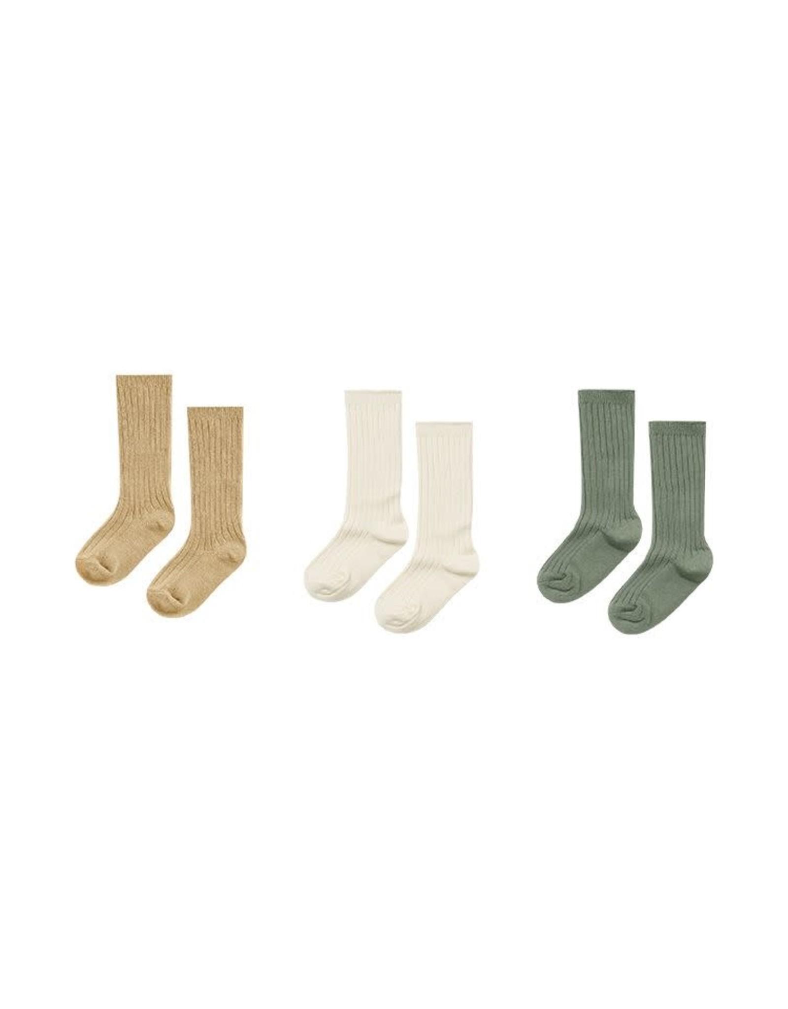 Rylee & Cru Rylee & Cru Solid Ribbed Socks Almond, Natural, Fern