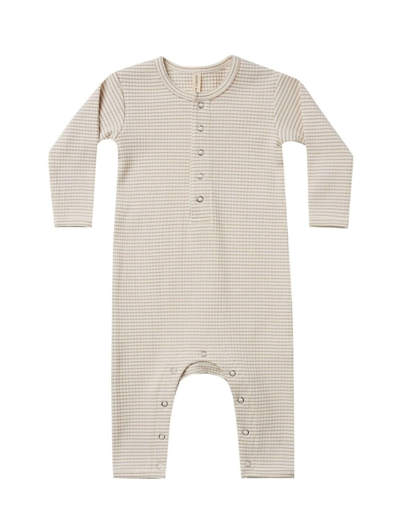 Quincy Mae Quincy Mae Ribbed Baby Jumpsuit Ash Stripe