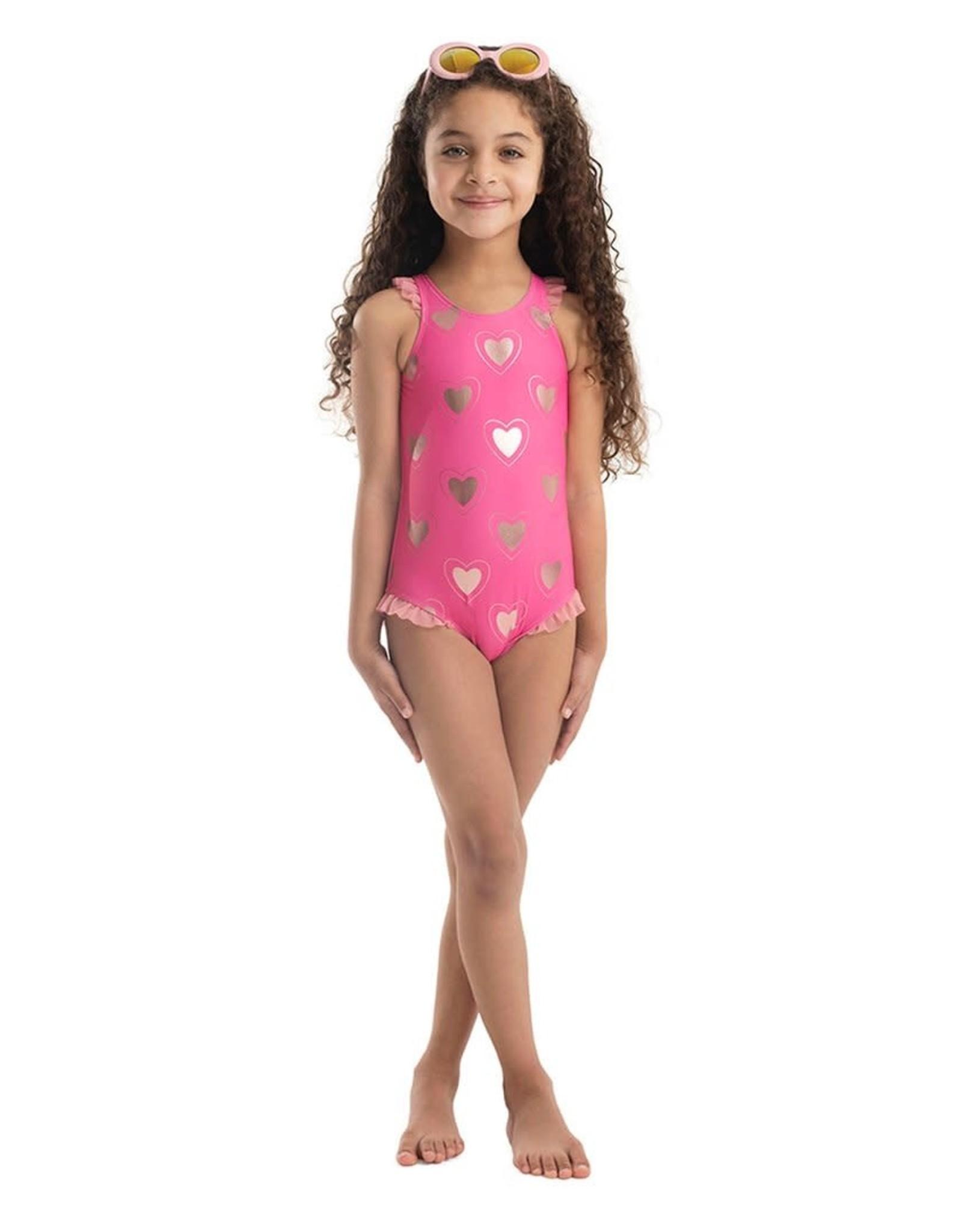 Appaman Appaman Girls Calla Swimsuit Pink Hearts