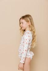 Imagine Perry Imagine Perry Girls Ruffle Bum Long Sleeve Rashguard Suit Floral