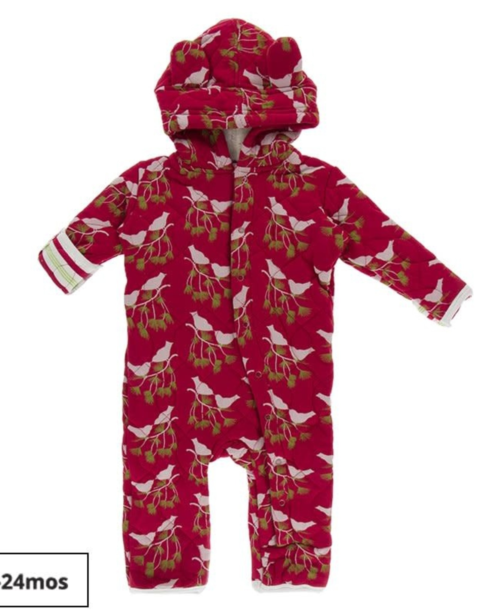 Kickee Pants Kickee Pants Holiday Print Quilted Hoodie Coverall W/ Ears