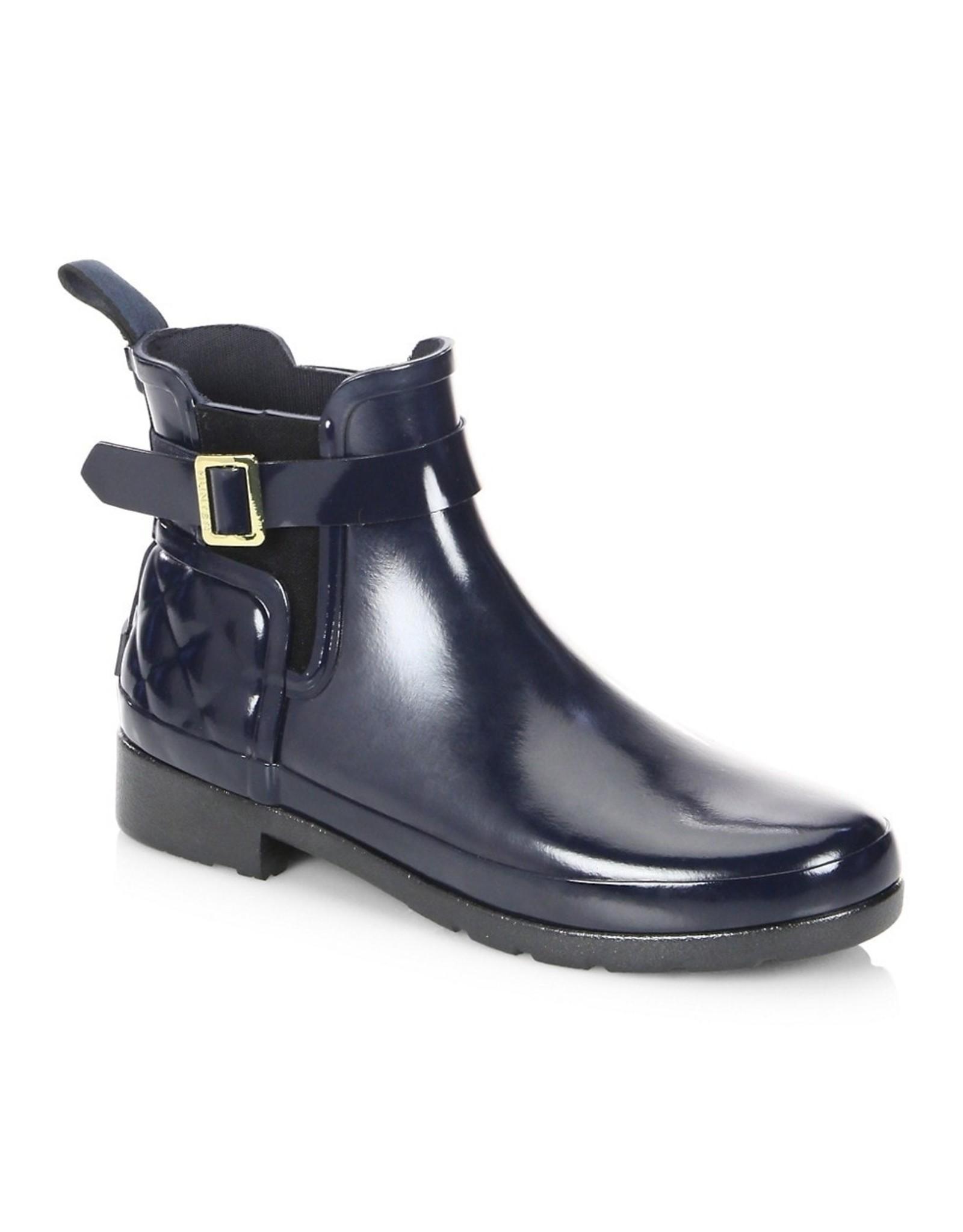 Hunter Hunter Womens Refined Gloss Quilt Chelsea Boots Black
