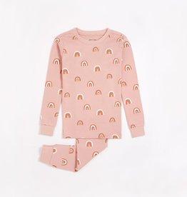 Petit Lem Petit Lem Big Girl 2pc Pj Set L/S Top + Pant Pink  Rainbows