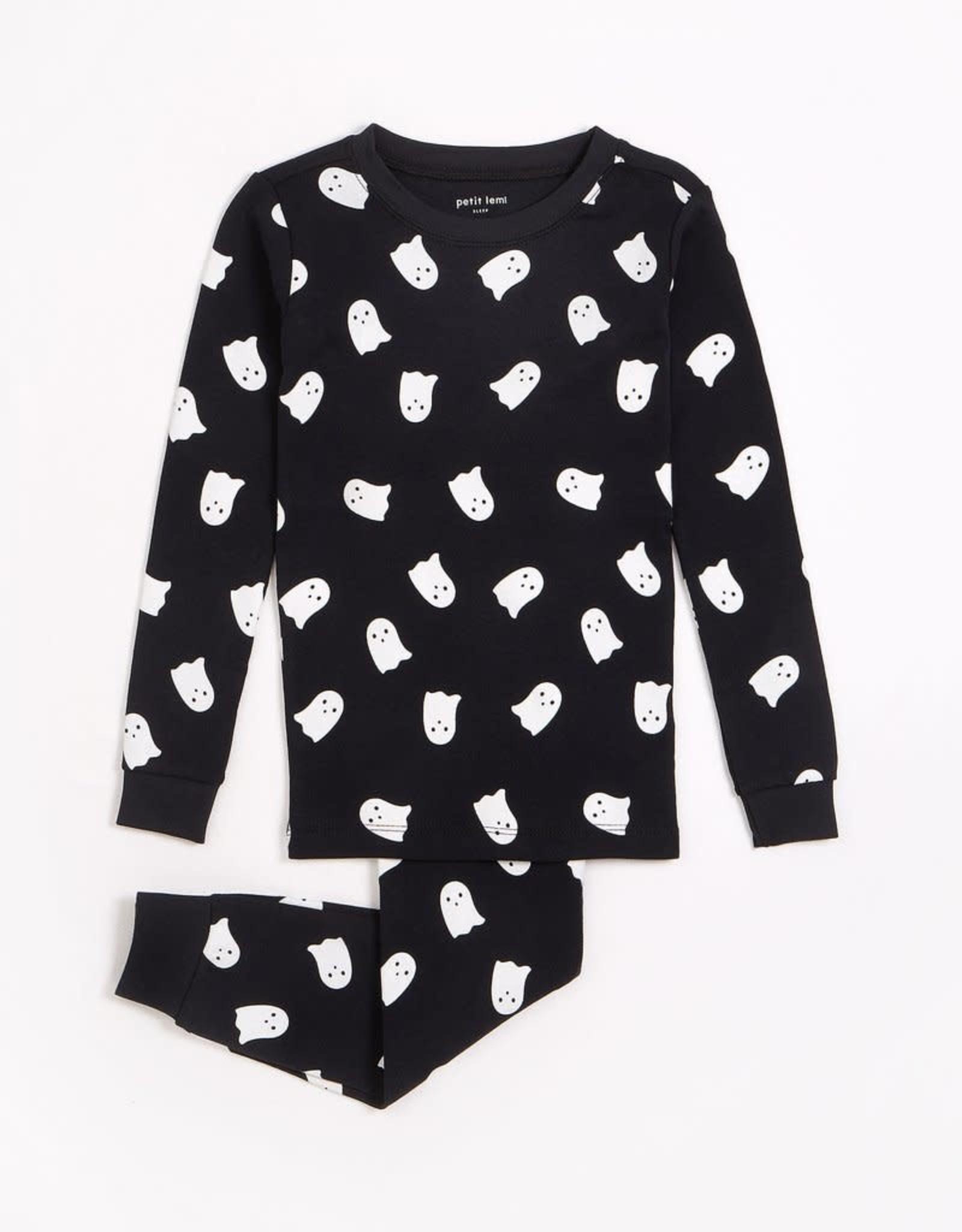Petit Lem Petit Lem Toddler 2pc Pj Set L/S Top + Pants Black Ghosts