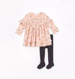 Petit Lem Petit Lem Baby L/S Dress + Tights Pink Floral