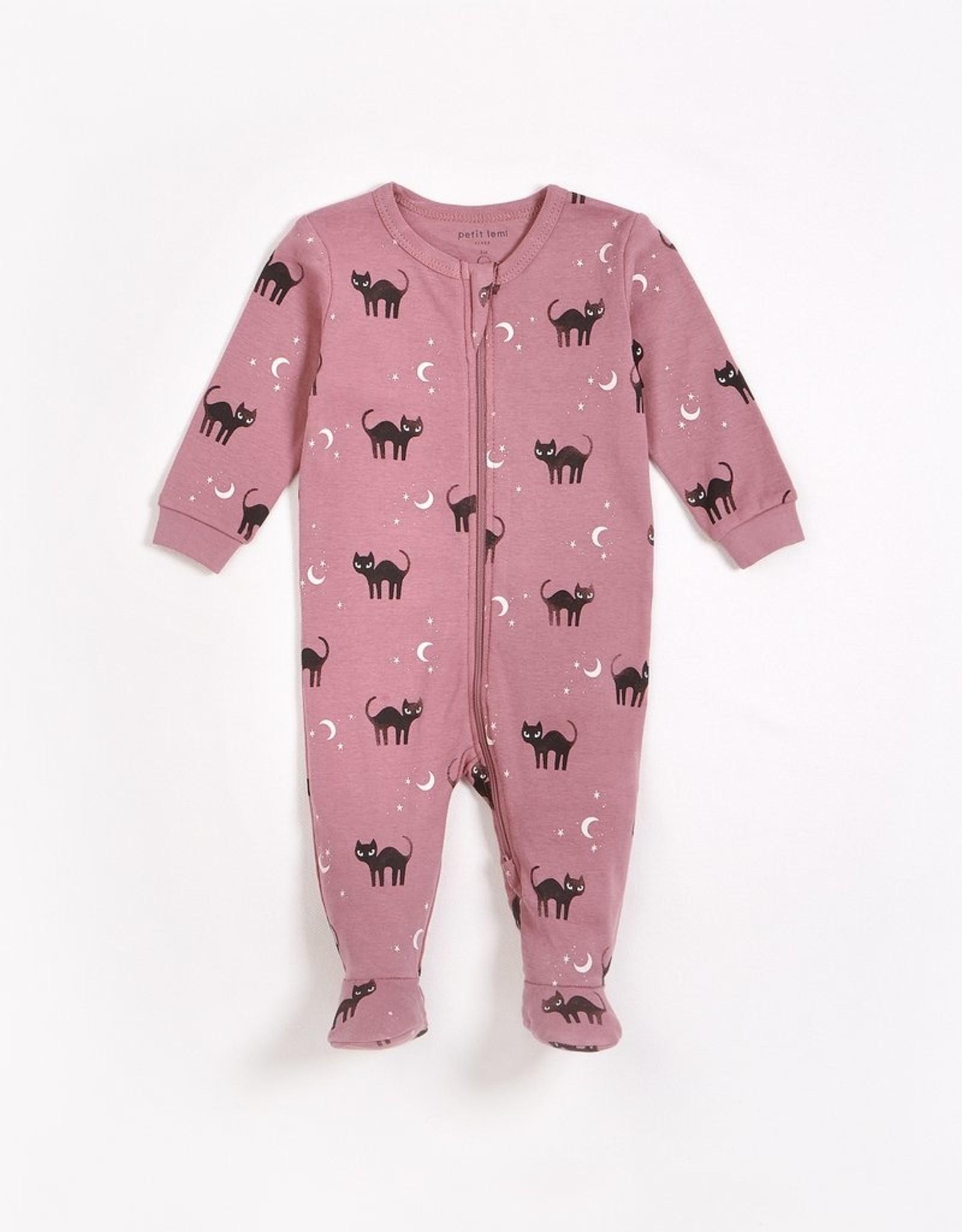 Petit Lem Petit Lem Knit Baby Sleeper Dusty Pink Cats
