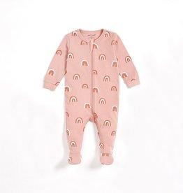 Petit Lem Petit Lem Knit Baby Sleeper Pink Rainbows