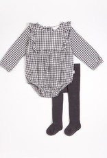 Petit Lem Petit Lem Baby 2pc Checkered Bodysuit + Tights Dark Grey