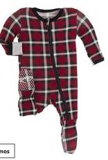 Kickee Pants Kickee Pants Holiday Print Footie W/ Zipper