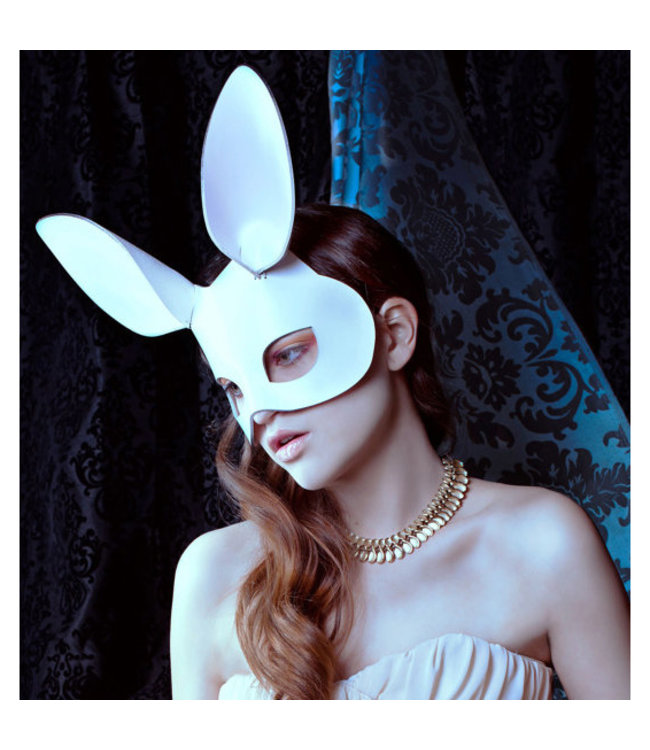 Leather Bunny Mask in White