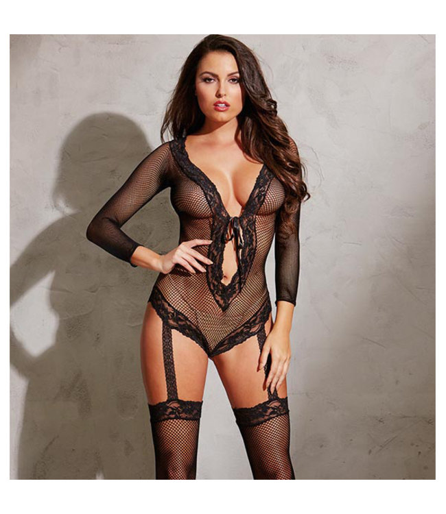 Lhasa Fishnet and Lace Teddy Bodystocking