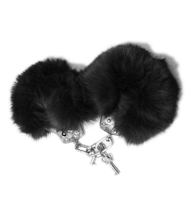 Black Fur & Metal Handcuffs