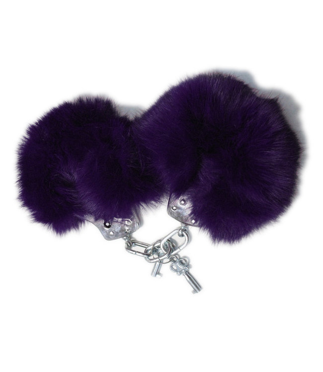 Purple Fur & Metal Handcuffs