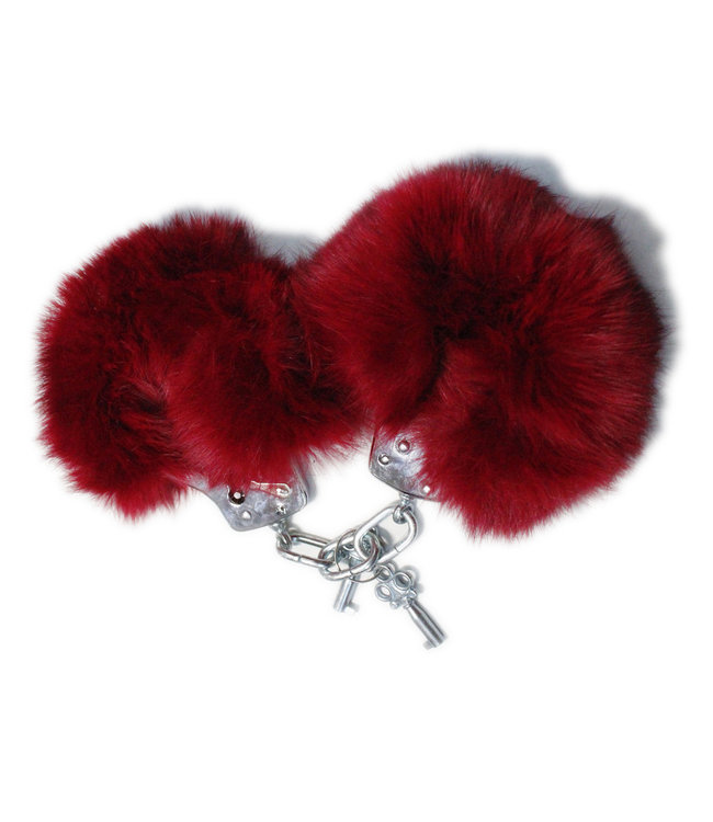 Red Fur & Metal Handcuffs