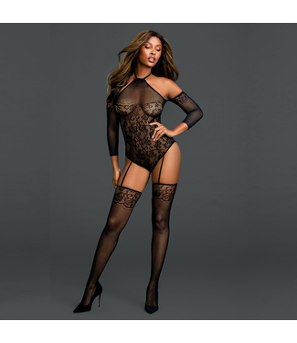 Open-Shoulder Lace Teddy Bodystocking
