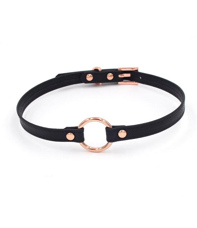 Black Leather & Rose Gold O Ring Collar