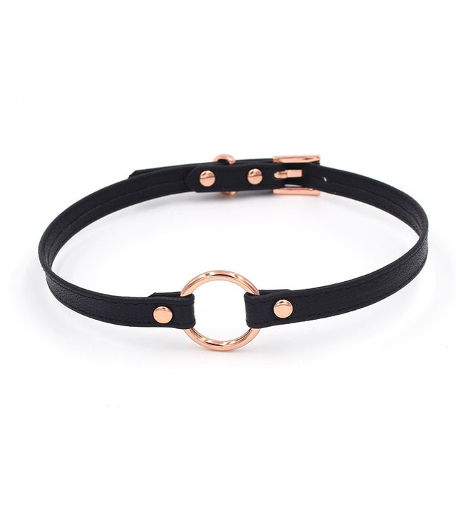 Rose Gold Luxury Leather Black Leather & Rose Gold Petite Ring of O BDSM Collar
